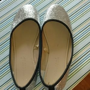 Wet Seal Silver Glitter Flats w/ Black Trim